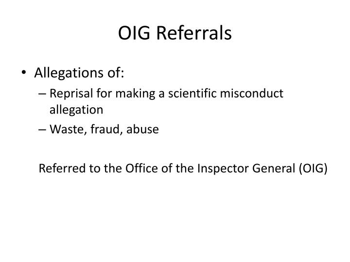 OIG Referrals