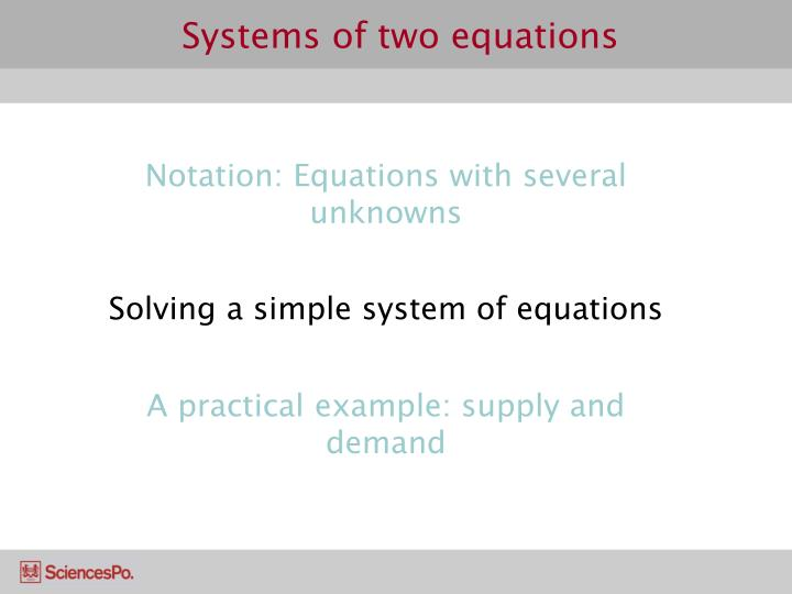 Systems of two equations