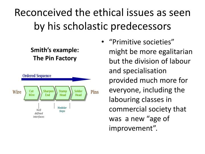 Reconceived the ethical issues as seen by his scholastic predecessors