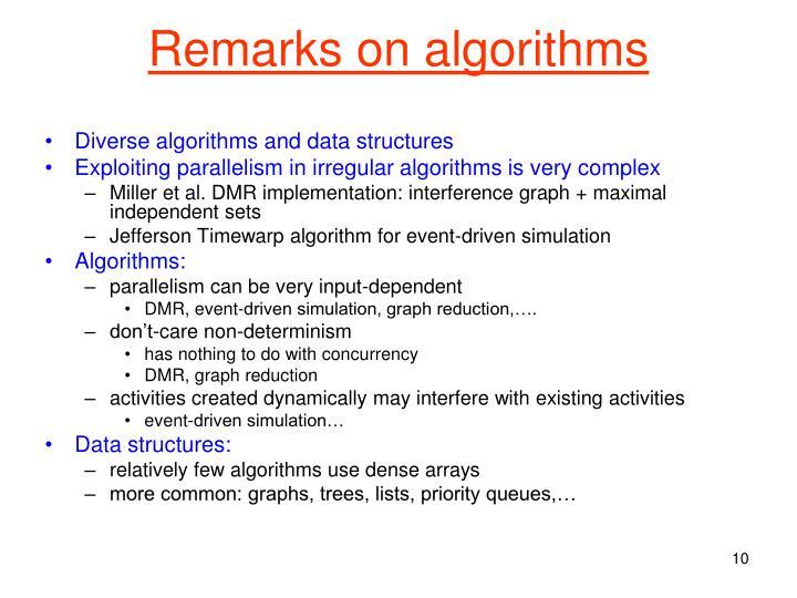 Remarks on algorithms