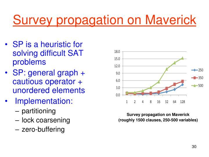 Survey propagation on Maverick