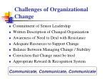 challenges of organizational change