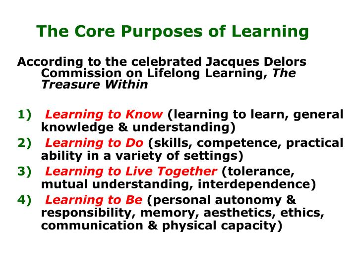 The Core Purposes of Learning
