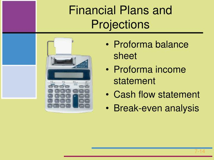 Financial Plans and Projections