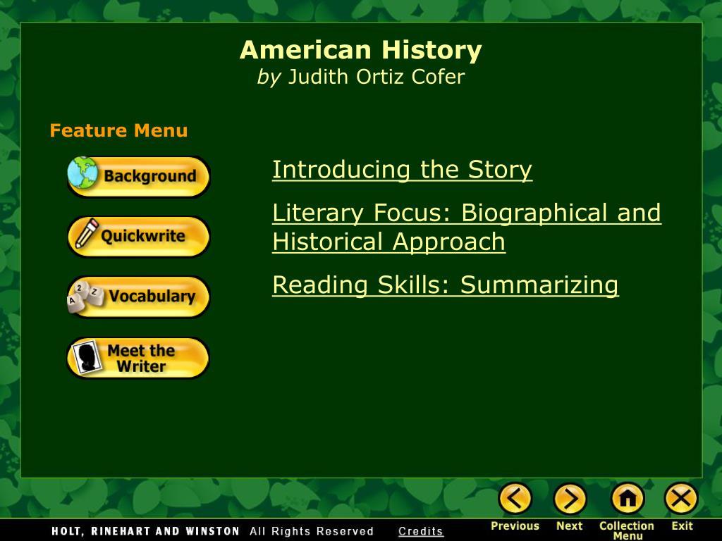 american history by judith ortiz cofer