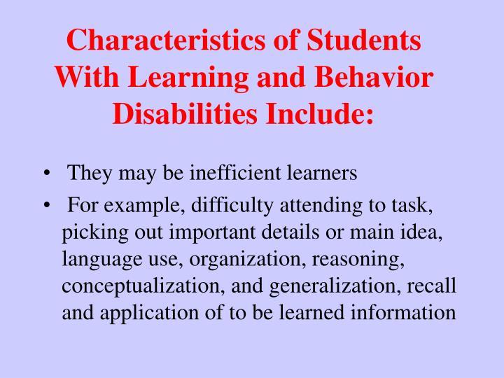 Characteristics of Students