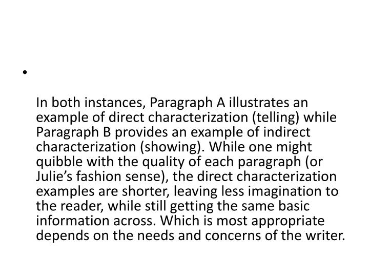 which paragraph is an example of indirect characterization