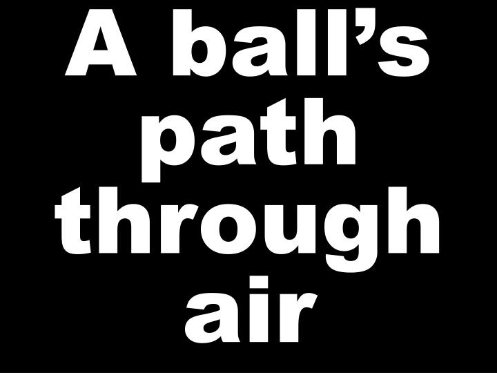 A ball's path through air