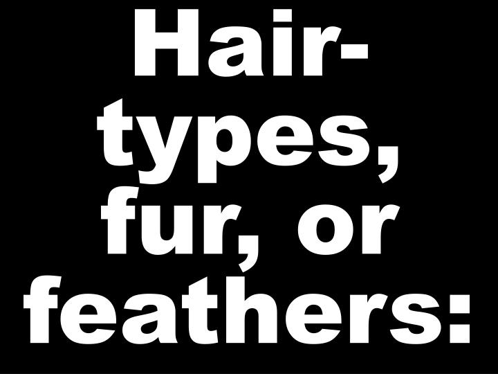 Hair-types, fur, or feathers:
