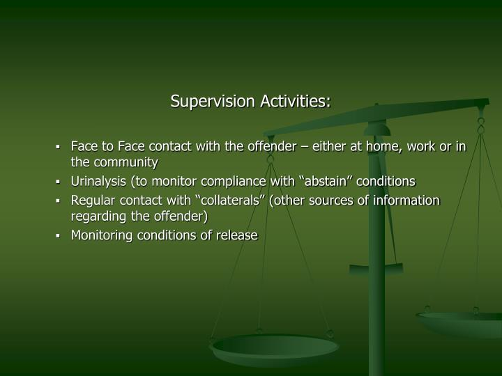 Supervision Activities: