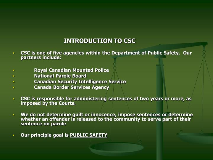 INTRODUCTION TO CSC