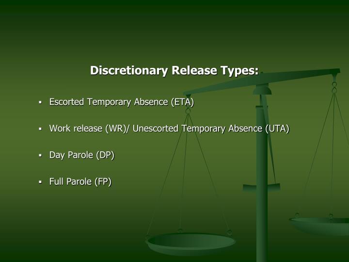 Discretionary Release Types: