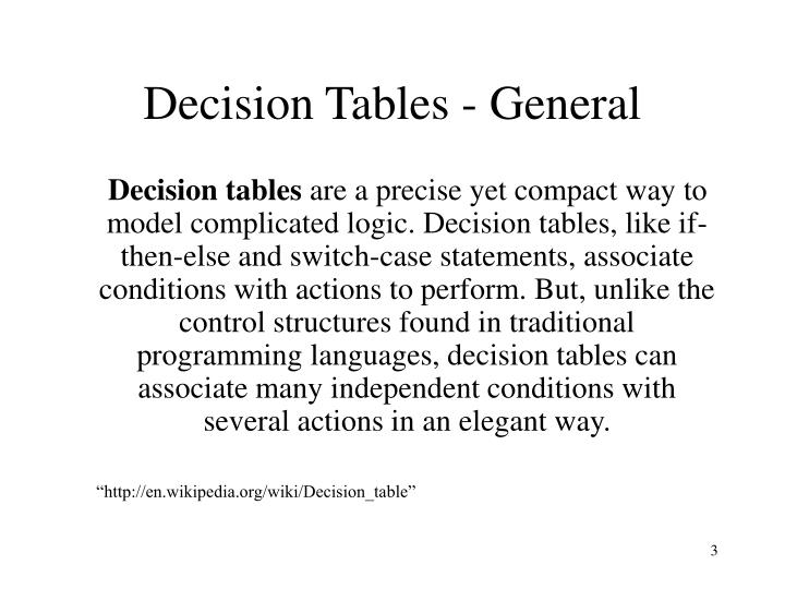 Decision tables general