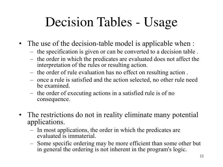 Decision Tables - Usage