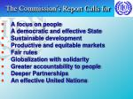 the commission s report calls for