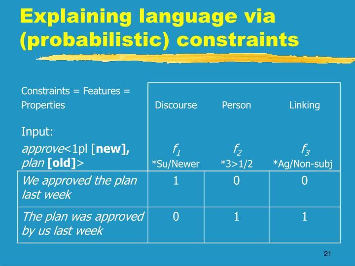 Constraints = Features =