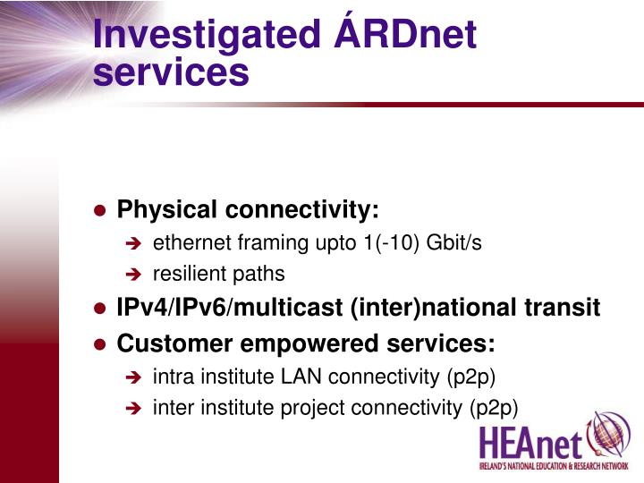 Investigated rdnet services