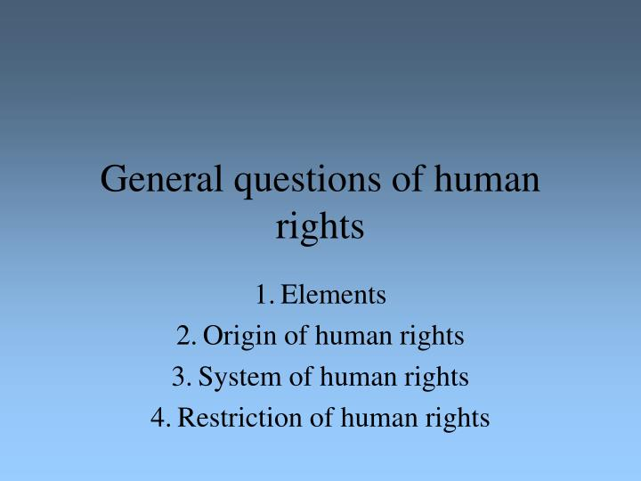 general questions of human rights n.