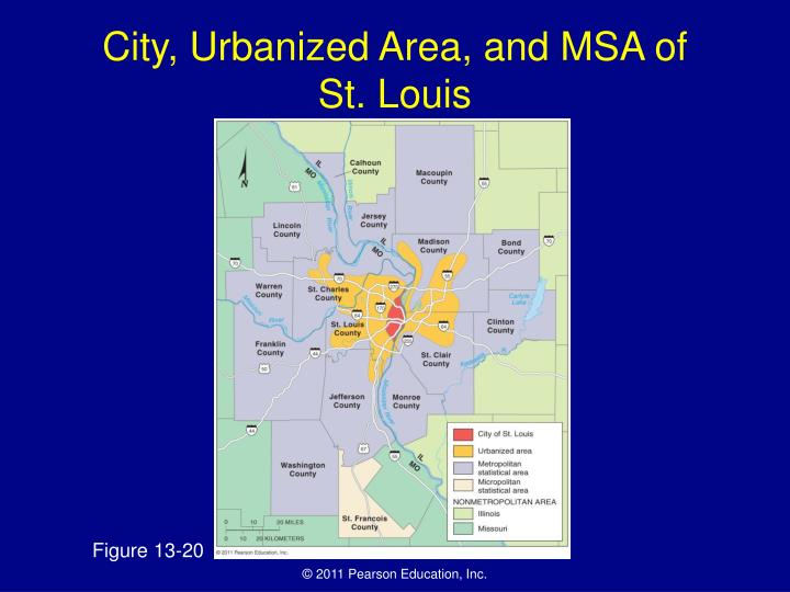 City, Urbanized Area, and MSA of