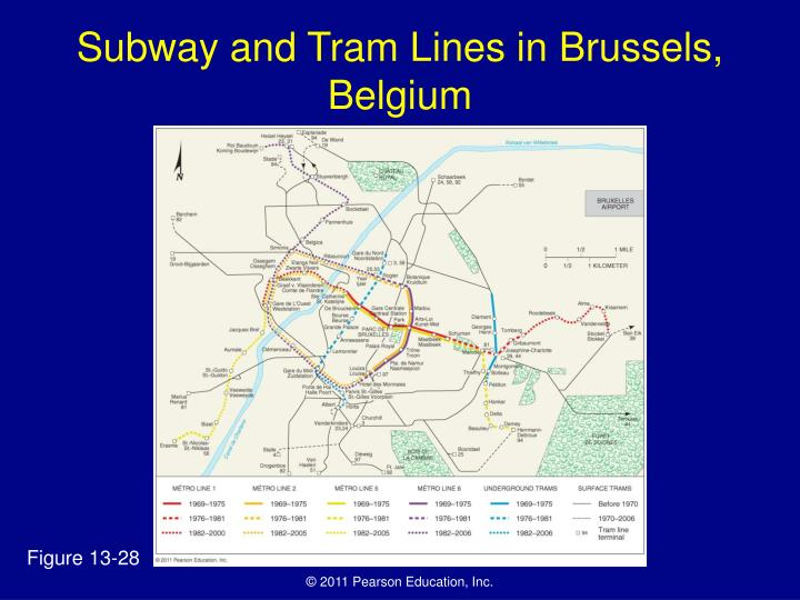 Subway and Tram Lines in Brussels, Belgium