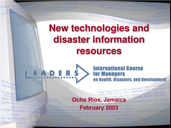 new technologies and disaster information resources n.
