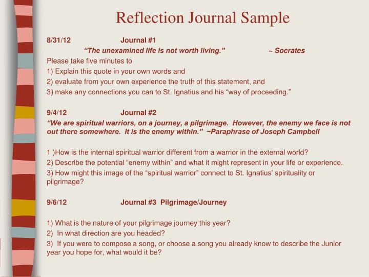 Reflection Journal Sample