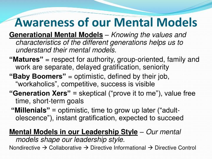 Awareness of our Mental Models