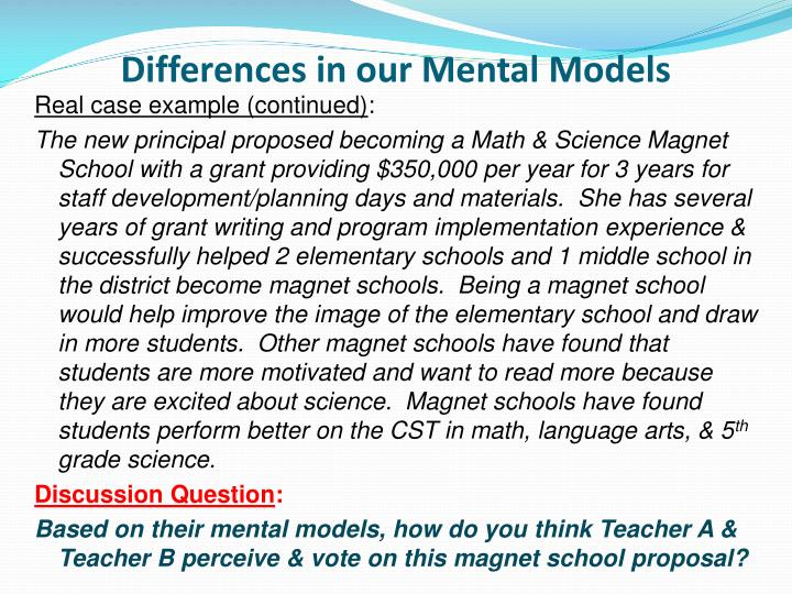 Differences in our Mental Models