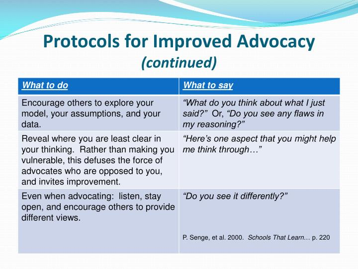 Protocols for Improved Advocacy