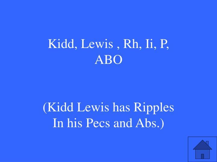 Kidd, Lewis , Rh, Ii, P, ABO