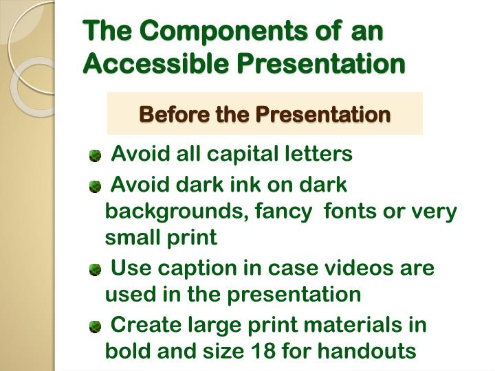 The components of an accessible presentation2