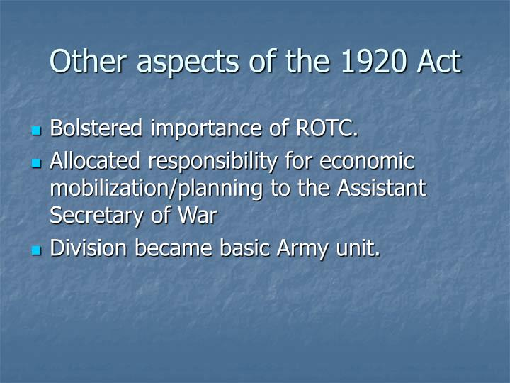Other aspects of the 1920 Act