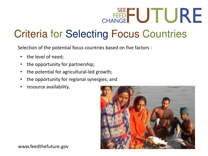 Criteria for selecting focus countries