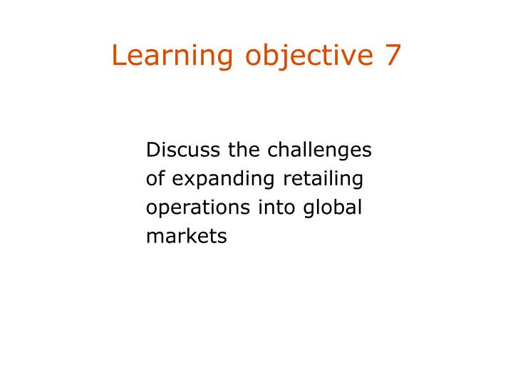 Learning objective 7