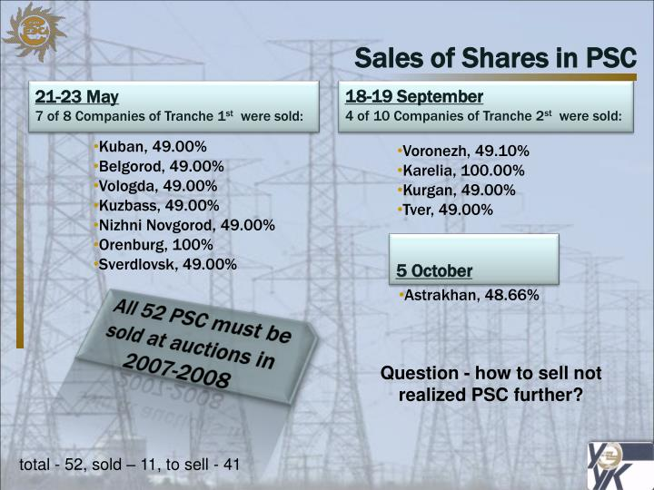 Sales of Shares in PSC