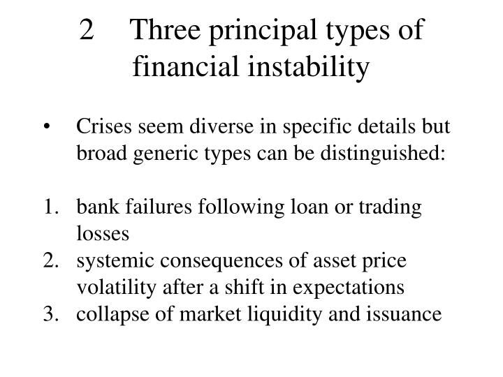 2	Three principal types of financial instability