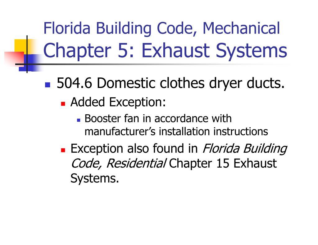 PPT - 2004 Florida Building Code, Mechanical/Energy