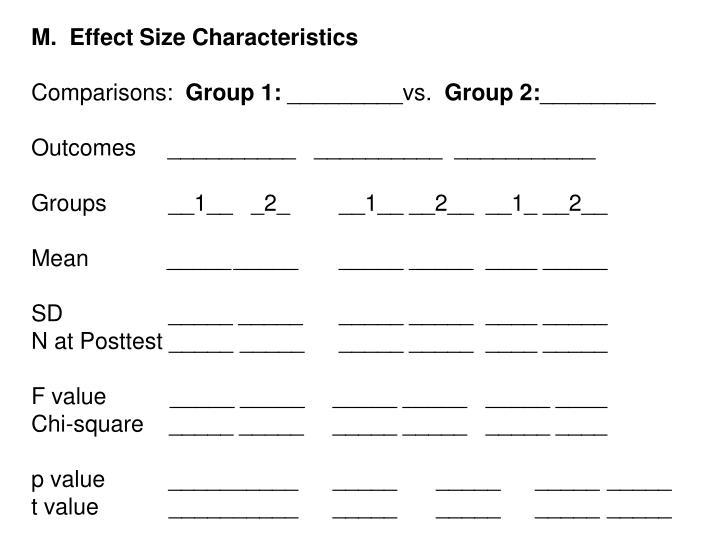 M.  Effect Size Characteristics
