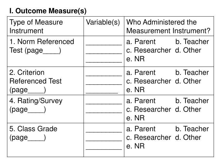 Outcome Measure(s)