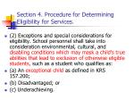section 4 procedure for determining eligibility for services