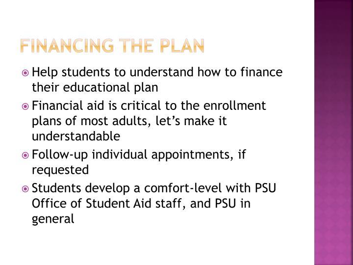 Financing the plan
