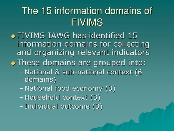 The 15 information domains of FIVIMS