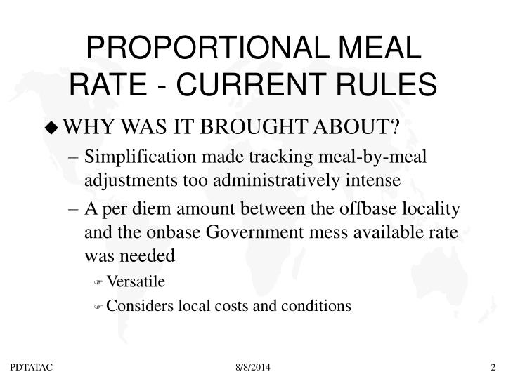 Proportional meal rate current rules1