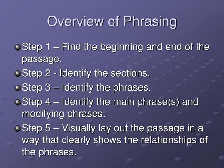 Overview of Phrasing