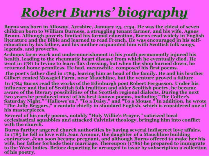 a biography of robert burns a novelist Article by peter hughes and andrew hill robert burns (january 25, 1759-july 21, 1796) is the national poet of scotland since they were first published, his poetry.