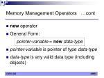memory management operators cont