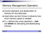 memory management operators