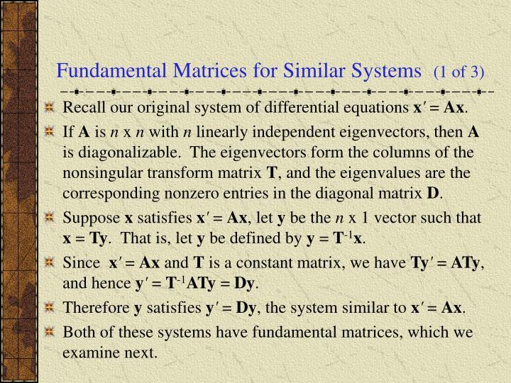 Fundamental Matrices