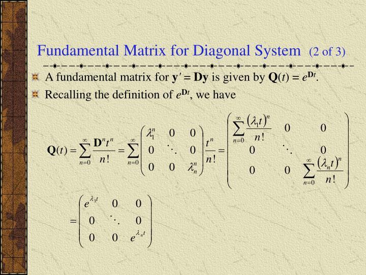 Fundamental Matrix for Diagonal System