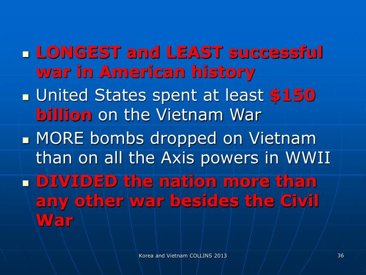 LONGEST and LEAST successful war in American history